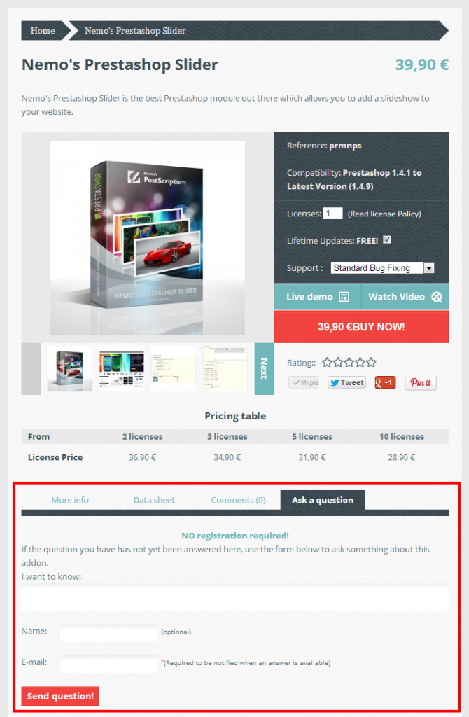 Ask a question Feature in Prestashop Addons store
