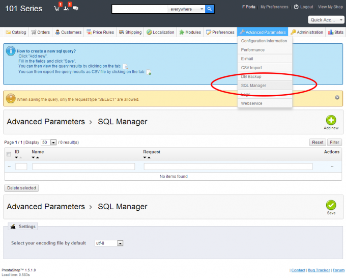 Prestashop export products with SQL Manager