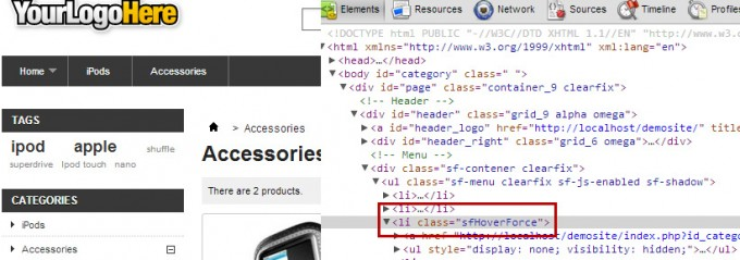 Prestashop top menu with active state - current link inspection