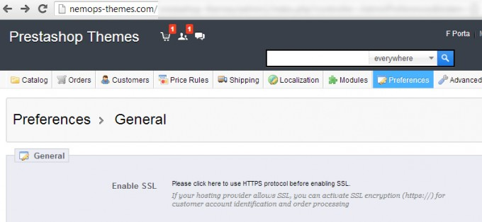 Prestashop SSL settings page
