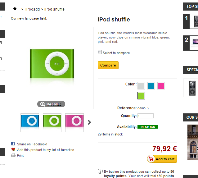 The Prestashop Compare button in a single product page