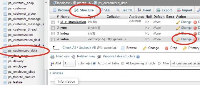 Prestashop Customization Fields in the database