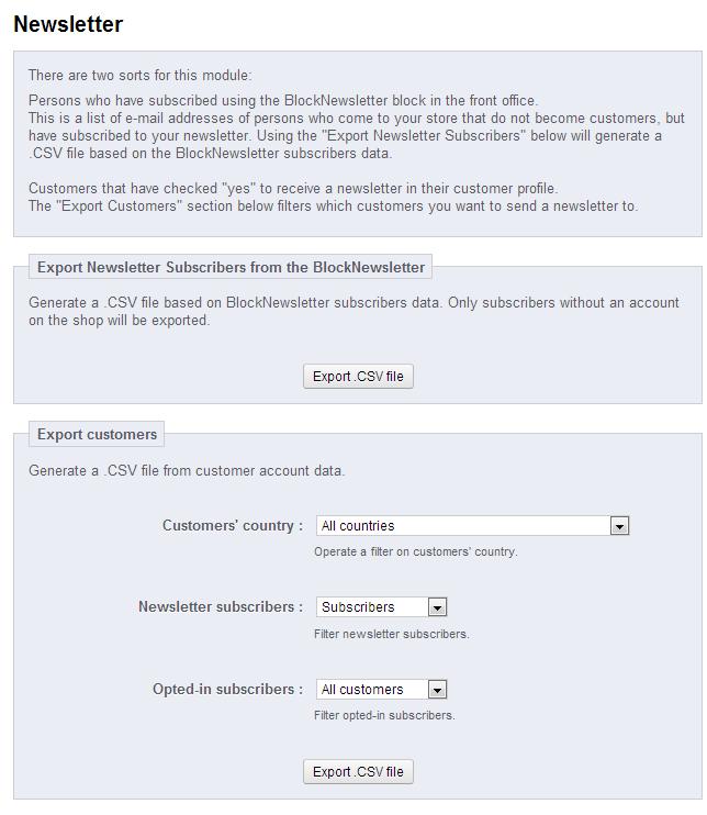 Prestashop - Newsletter subscribers export screen