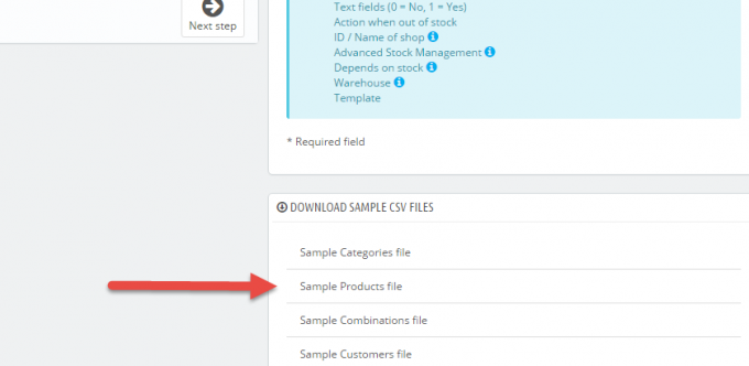 PrestaShop Sample CSV File Download